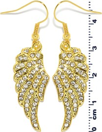 Rhinestone Earrings Angel Wings Gold Clear Ger1461