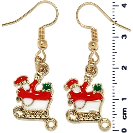Christmas Earrings Gold Tone Santa Claus Sleigh Red Ger1466