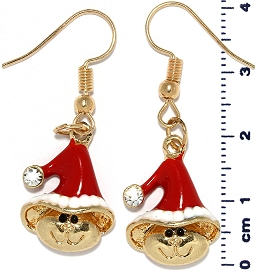 Christmas Earrings Gold Tone Hat Cartoon Head Red Ger1467