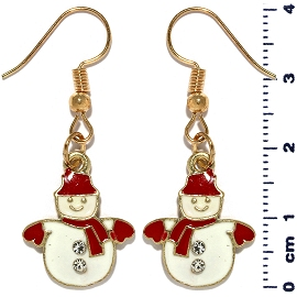 Christmas Earrings Gold Tone Snowman Rhinestone Red Ger1468