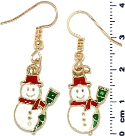 Christmas Earrings Gold Tone Snowman Red Green White Ger1469