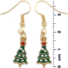 Christmas Earrings Gold Tone Tree Star Red Green Ger1471