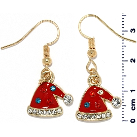 Christmas Earrings Gold Tone Hat Rhinestone Red Ger1475