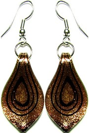 Gold Black Leaf Glass Earrings Ger159