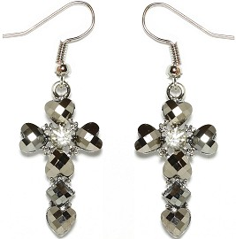 Obsidian Rhinestone Earrings Cross Heart Silver Ger1670
