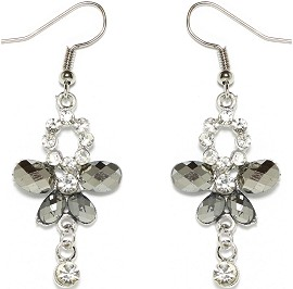 Obsidian Rhinestone Earrings Butterfly Silver Ger1674