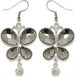 Obsidian Rhinestone Earrings Butterfly Silver Ger1676