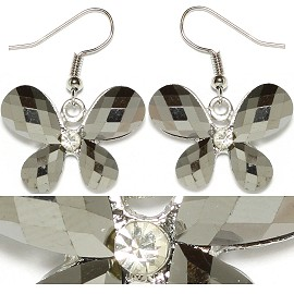 Obsidian Rhinestone Earrings Butterfly Silver Ger1677