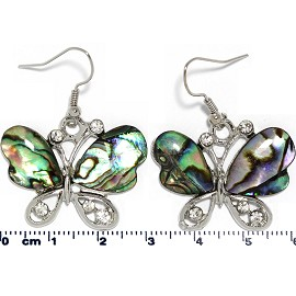 Abalone Earrings Butterfly Silver Green Purple Ger1683