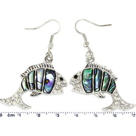Abalone Earrings Rhinestone Fish Silver Green Ger1734