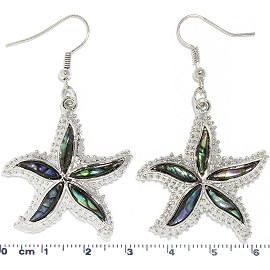 Abalone Earrings Rhinestone Starfish Silver Green Ger1736