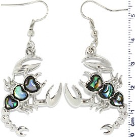 Abalone Earrings Rhinestone Scorpion Silver Green Ger1737
