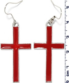 Earring Cross Red Ger1756