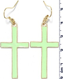 Earring Cross Green Ger1757