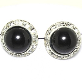 Pearl Round Earring Black Silver Ger1778