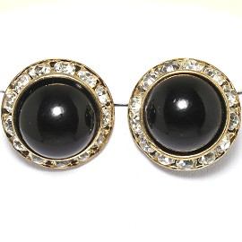 Pearl Round Earring Black Gold Ger1780