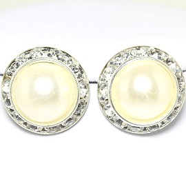 Pearl Round Earring White Silver Ger1782