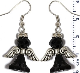 Crystal Earrings Angel Black Silver Ger209