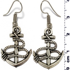 Ship Anchor Rope Drop Earrings Metallic Tone Ger2097