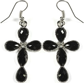 Obsidian Earrings Cross Silver Ger213