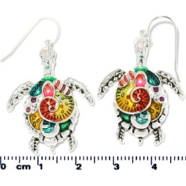 Sea Turtle Earrings Multi Colored Teal Yellow Red Silver Ger2193