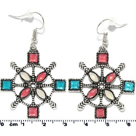 Flower Circle Figure Earrings Multi Color Gem Silver Ger2203