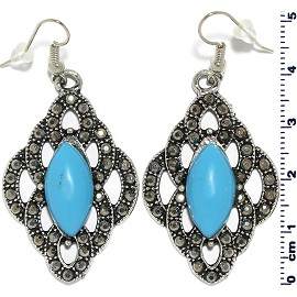 Diamond Shape Turquoise Earrings Gray Ger2209