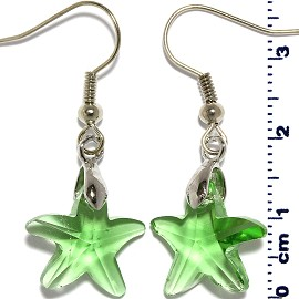 Crystal Star Earrings Silver Light Green Ger2214
