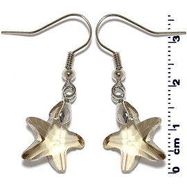Crystal Star Earrings Silver Light Brown Ger2216