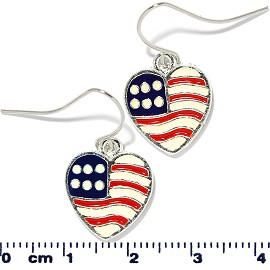 US Flag Heart Earrings Red White Blue Ger2217