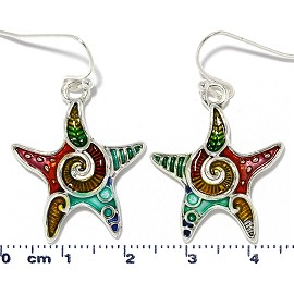 Starfish Earrings Multi Color Red Green Gold Turquoise Ger2220