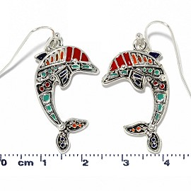 Dolphin Earrings Multi Color Red Turquoise Black Ger2221