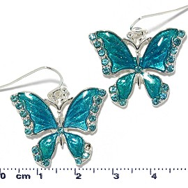 Butterfly Earrings MultiColor Rhinestones Teal Turquoise Ger2224