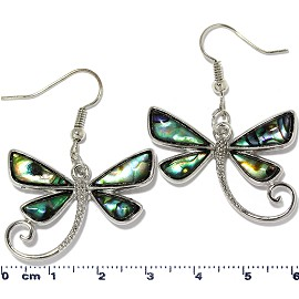 Dragonfly Abalone Earrings Green Silver Tone Ger2227