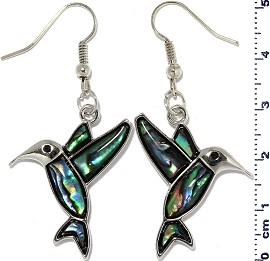 Hummingbird Abalone Earrings Green Silver Tone Ger2228