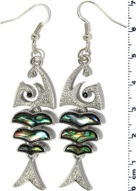Abalone Earring Bone Fish Green White Silver Tone Ger2231