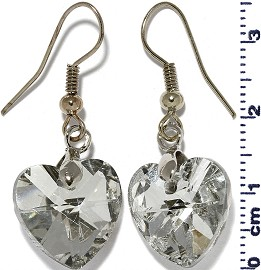 Crystal Heart Earrings Silver Tone Back Clear Glass Ger2232