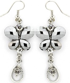 Silver Earrings Butterfly Crystals Ger235