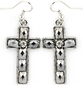 Silver Earrings Cross Crystals Ger237