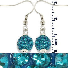 Rhinestone Ball Earrings Turquoise Ger245