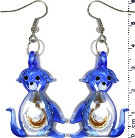 Glass Earrings Dog Gold Blue Ger271