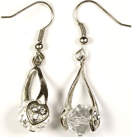 Crystal Earrings Heart Clear Ger276