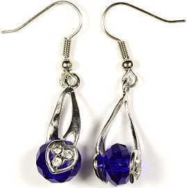 Crystal Earrings Heart Blue Ger278
