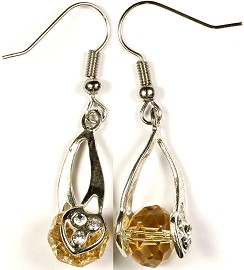 Crystal Earrings Heart Tan Ger280