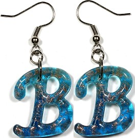 12 Pairs Glass Earrings Letter B Gold Aqua Ger292