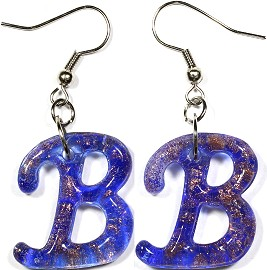 12 Pairs Glass Earrings Letter B Gold Blue Ger295