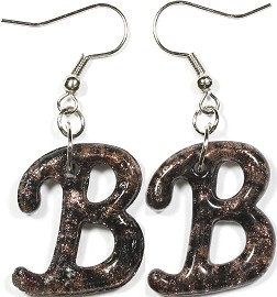 12 Pairs Glass Earrings Letter B Gold Black Ger296