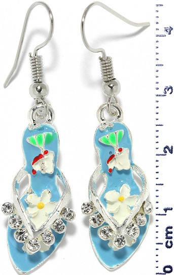 Sandal Dangle Rhinestone Earrings Silver Tone Sky Blue Ger301