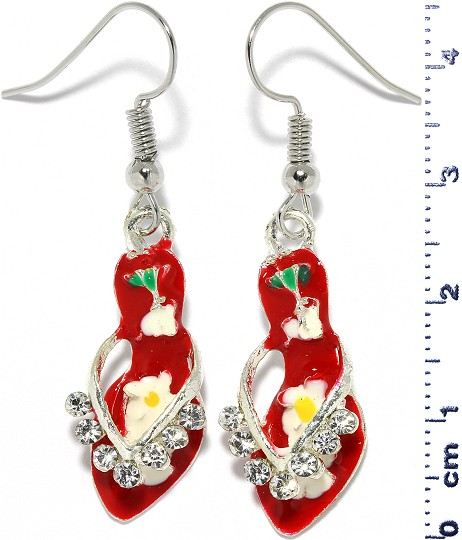 Sandal Dangle Rhinestone Earrings Silver Tone Red Ger302