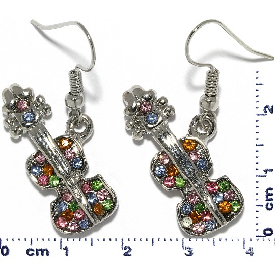 Violin Rhinestone Earrings Metallic Tone Multi Color Ger304